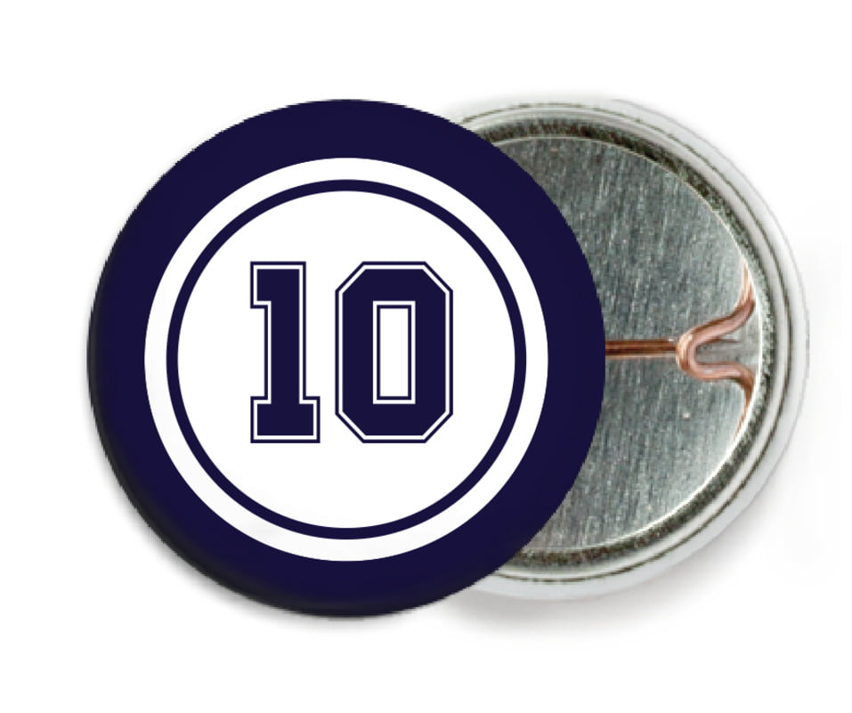 custom pin back buttons - white & navy - football (set of 6)