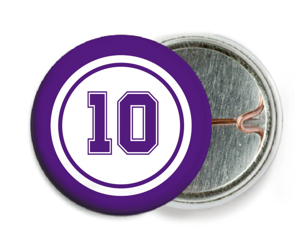 custom pin back buttons - white & purple - football (set of 6)
