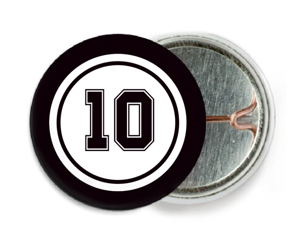 custom pin back buttons - white & black - football (set of 6)