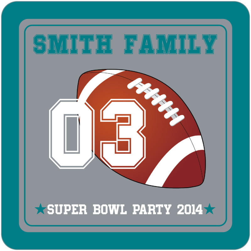square beer coasters - silver & teal - football (set of 12)