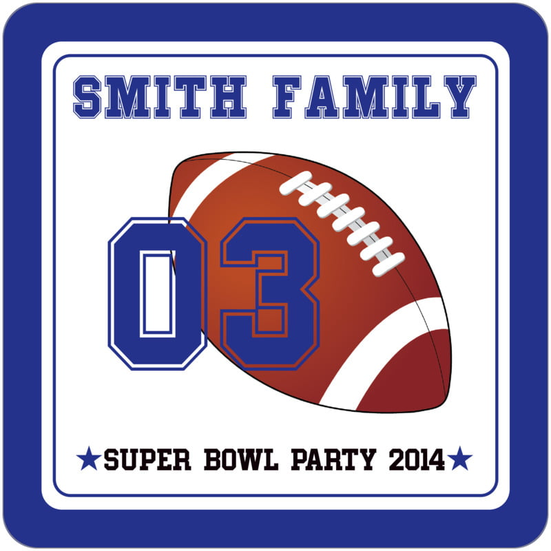 square beer coasters - white & royal - football (set of 12)