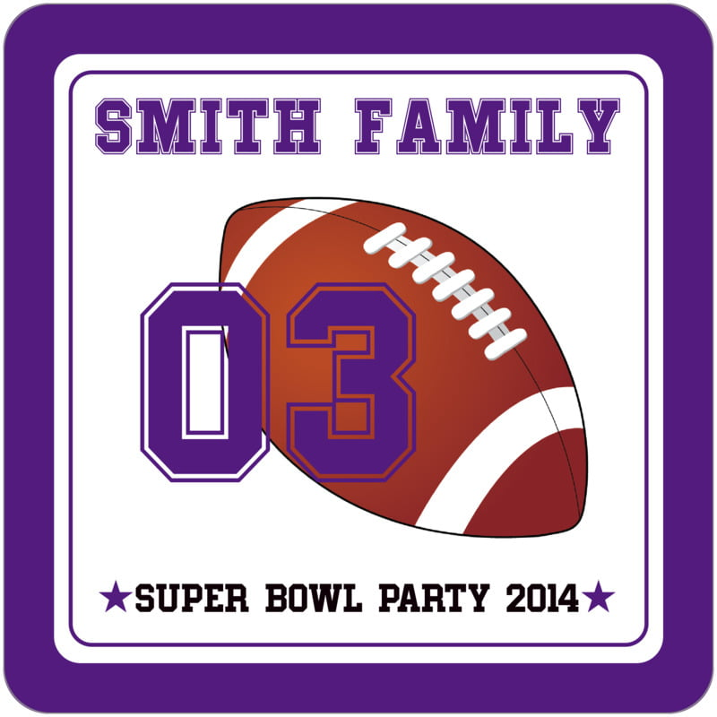 square beer coasters - white & purple - football (set of 12)