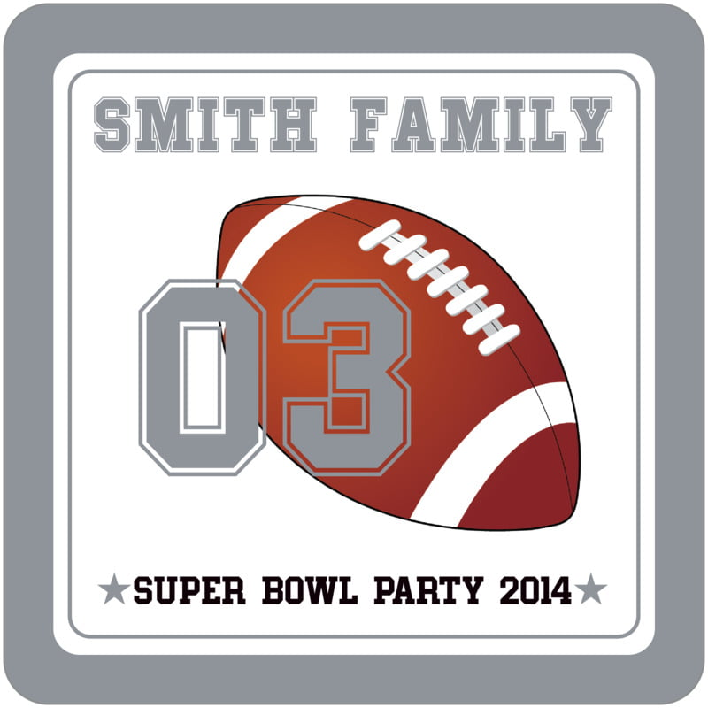 square beer coasters - white & silver - football (set of 12)