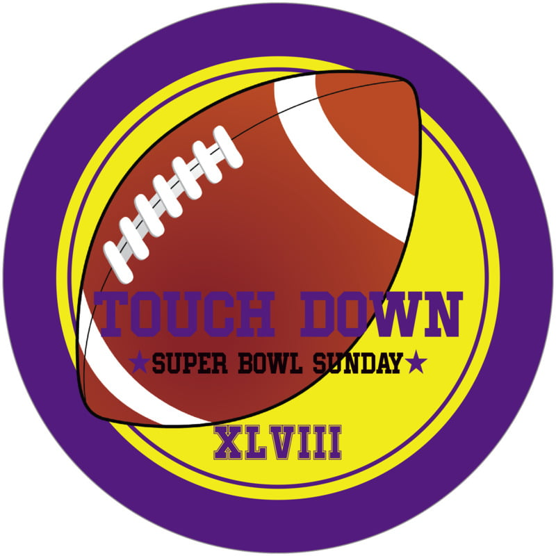 round beer coasters - yellow & purple - football (set of 12)