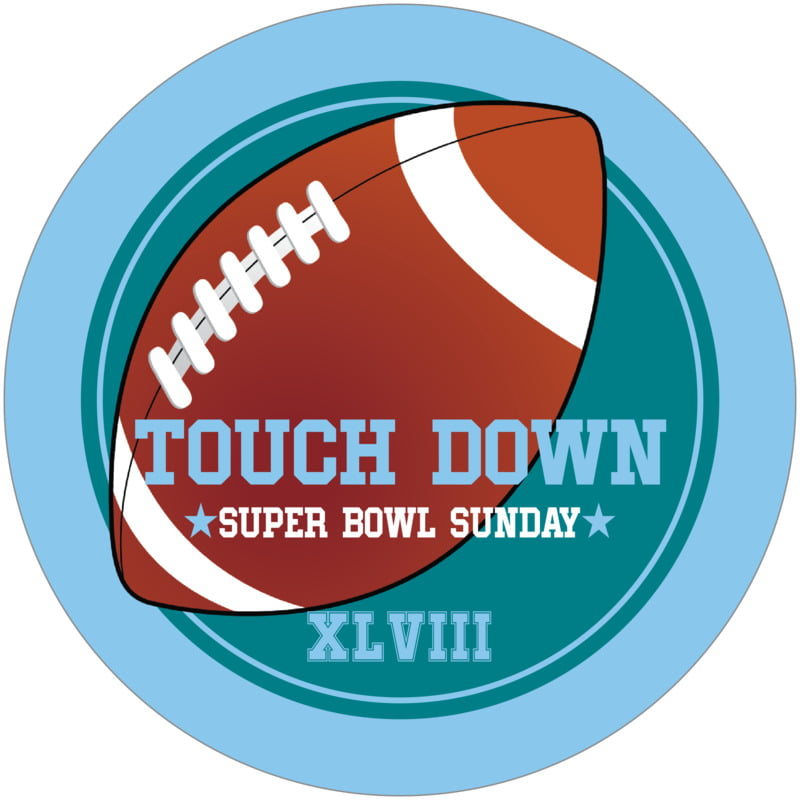 round beer coasters - teal & light blue - football (set of 12)