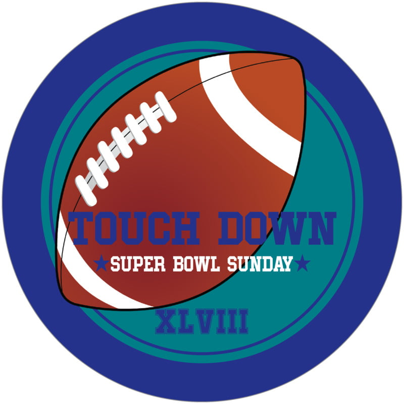 round beer coasters - teal & royal - football (set of 12)