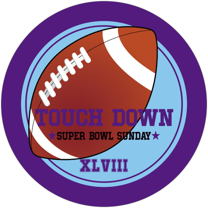 round beer coasters - light blue & purple - football (set of 12)