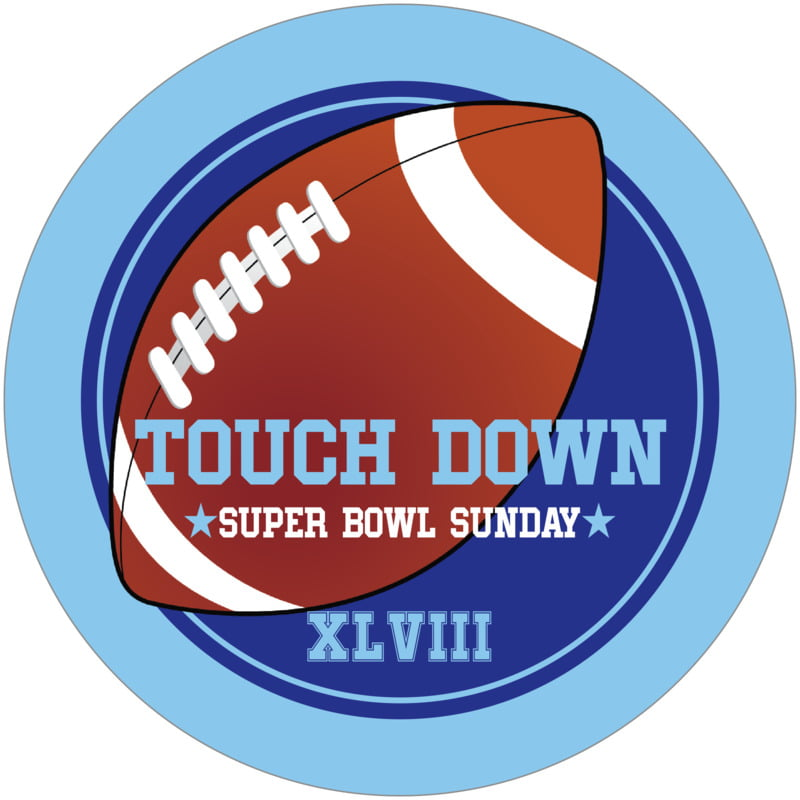 round beer coasters - royal & light blue - football (set of 12)