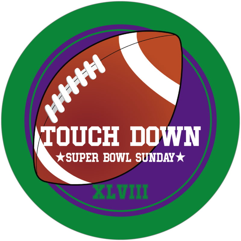 round beer coasters - purple & green - football (set of 12)