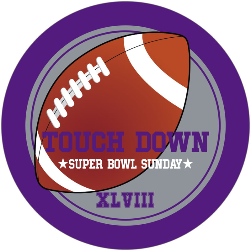 round beer coasters - silver & purple - football (set of 12)