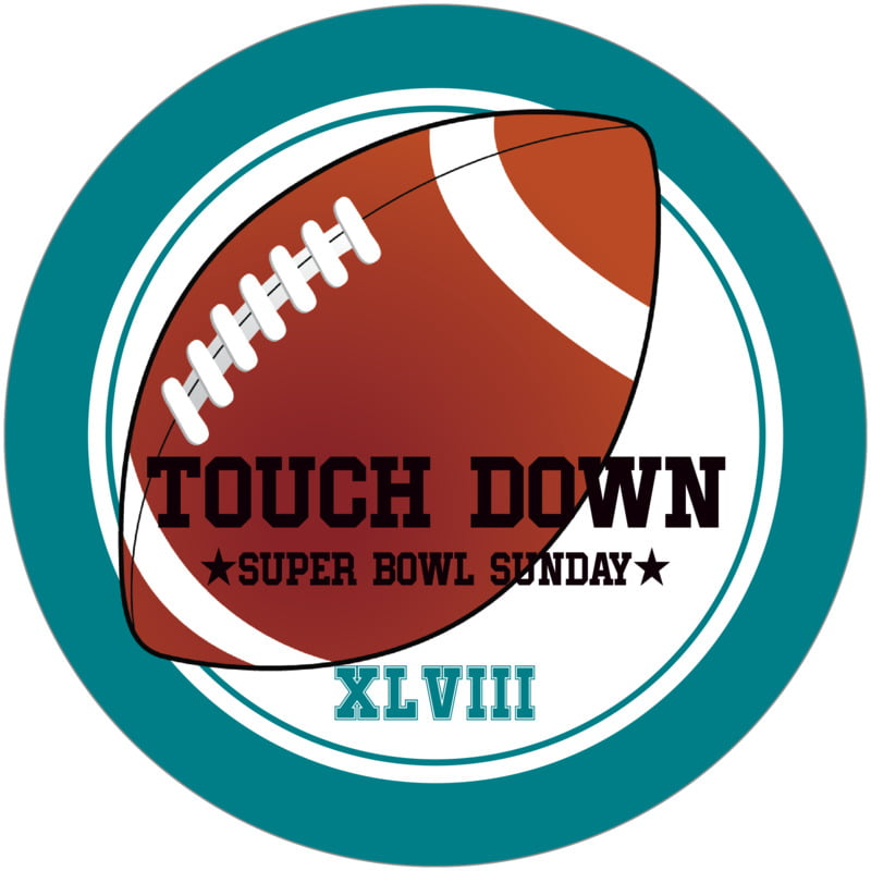 round beer coasters - white & teal - football (set of 12)
