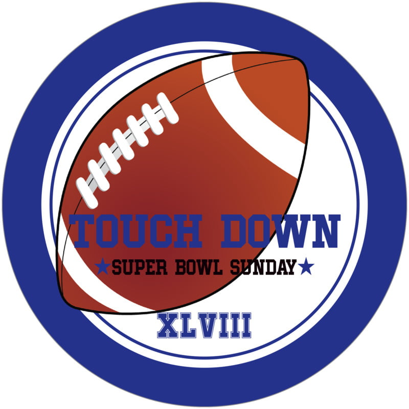 round beer coasters - white & royal - football (set of 12)