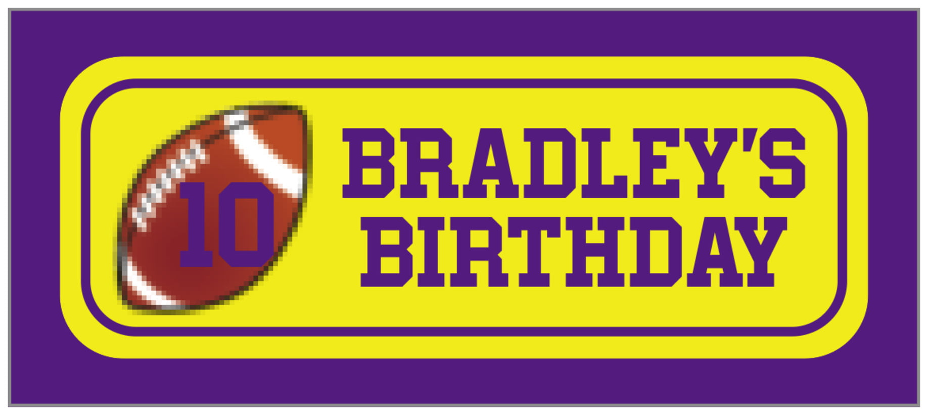 small rectangle food/craft labels - yellow & purple - football (set of 24)