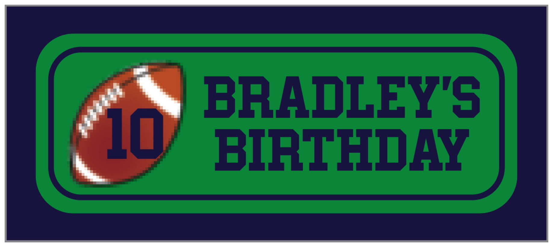 small rectangle food/craft labels - green & navy - football (set of 24)