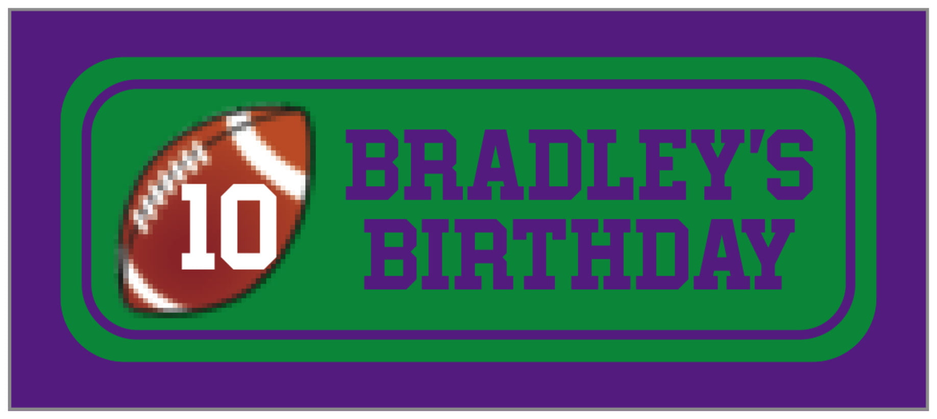 small rectangle food/craft labels - green & purple - football (set of 24)