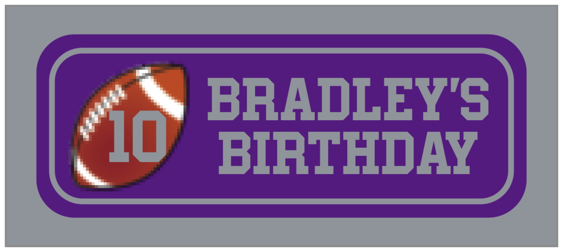 small rectangle food/craft labels - purple & silver - football (set of 24)