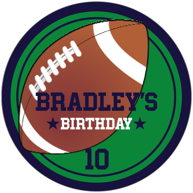 circle food/craft labels - green & navy - football (set of 12)