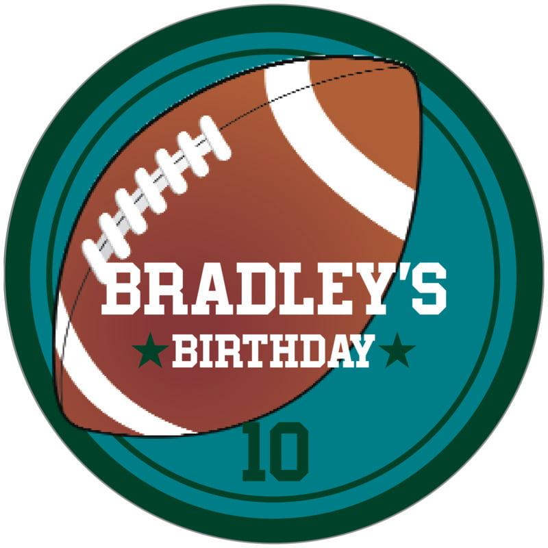 circle food/craft labels - teal & forest - football (set of 12)