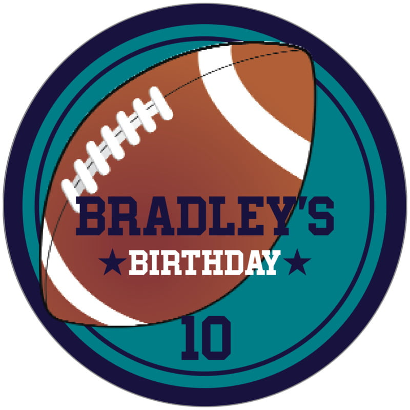 circle food/craft labels - teal & navy - football (set of 12)