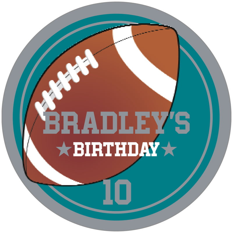 circle food/craft labels - teal & silver - football (set of 12)
