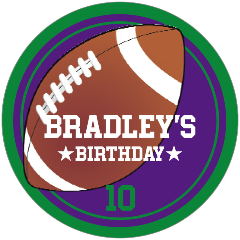 circle food/craft labels - purple & green - football (set of 12)