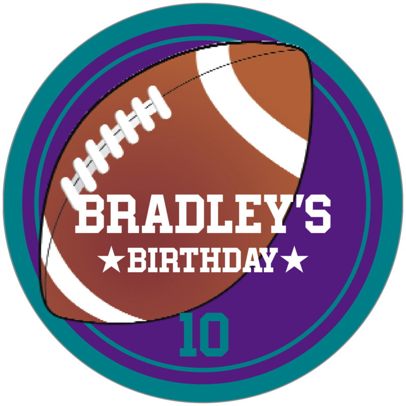 circle food/craft labels - purple & teal - football (set of 12)