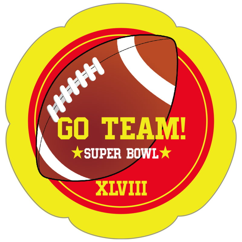petal food/craft labels - red & yellow - football (set of 30)