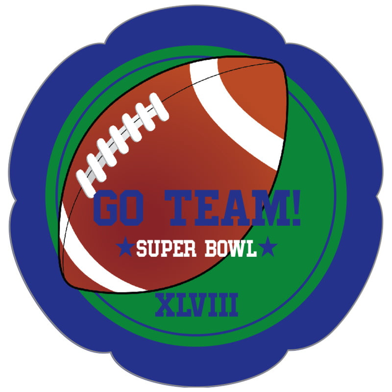 petal food/craft labels - green & royal - football (set of 30)