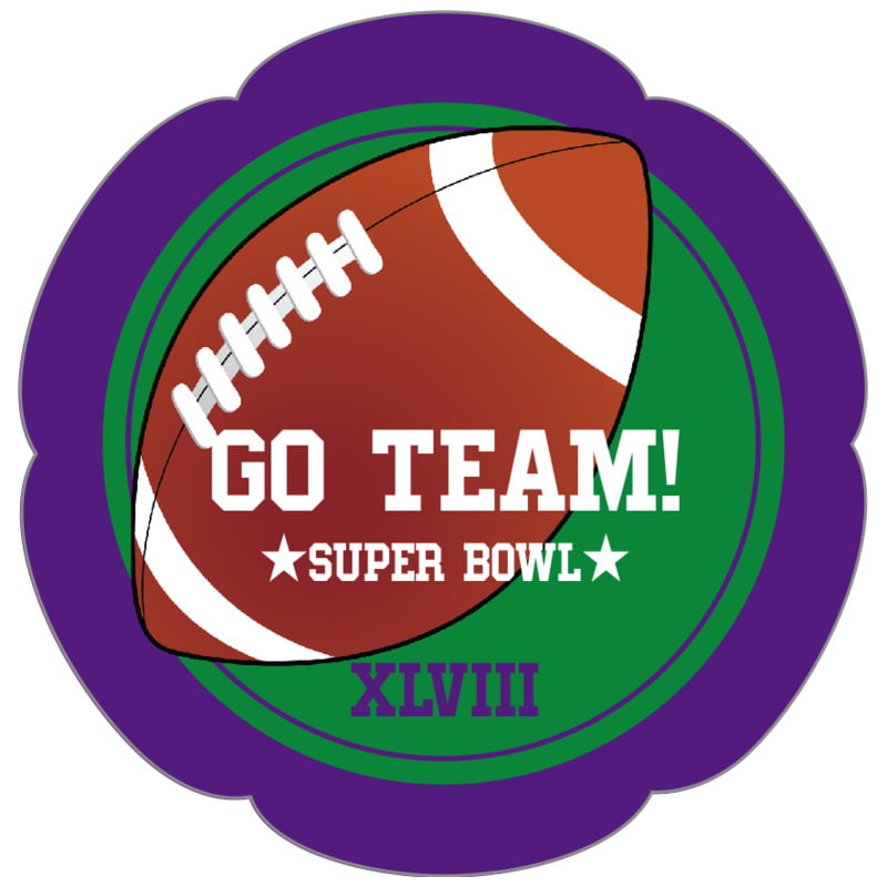 petal food/craft labels - green & purple - football (set of 30)