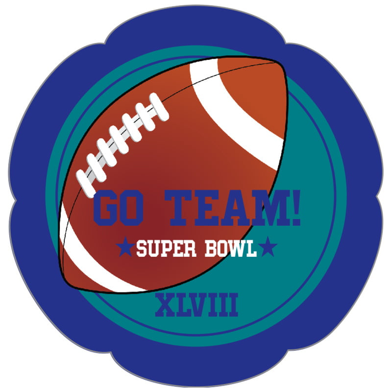 petal food/craft labels - teal & royal - football (set of 30)