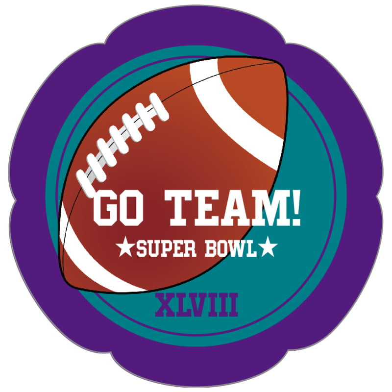 petal food/craft labels - teal & purple - football (set of 30)