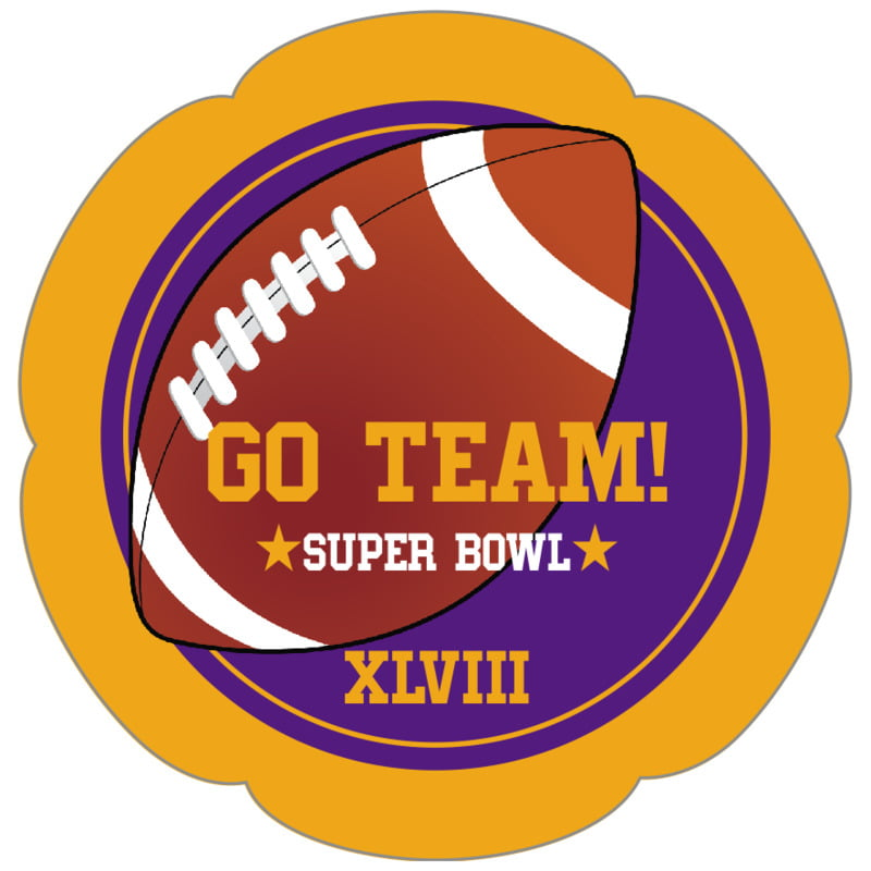 petal food/craft labels - purple & gold - football (set of 30)