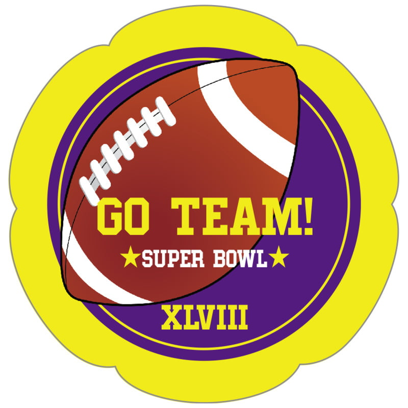 petal food/craft labels - purple & yellow - football (set of 30)
