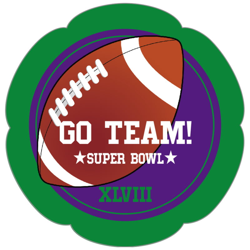 petal food/craft labels - purple & green - football (set of 30)