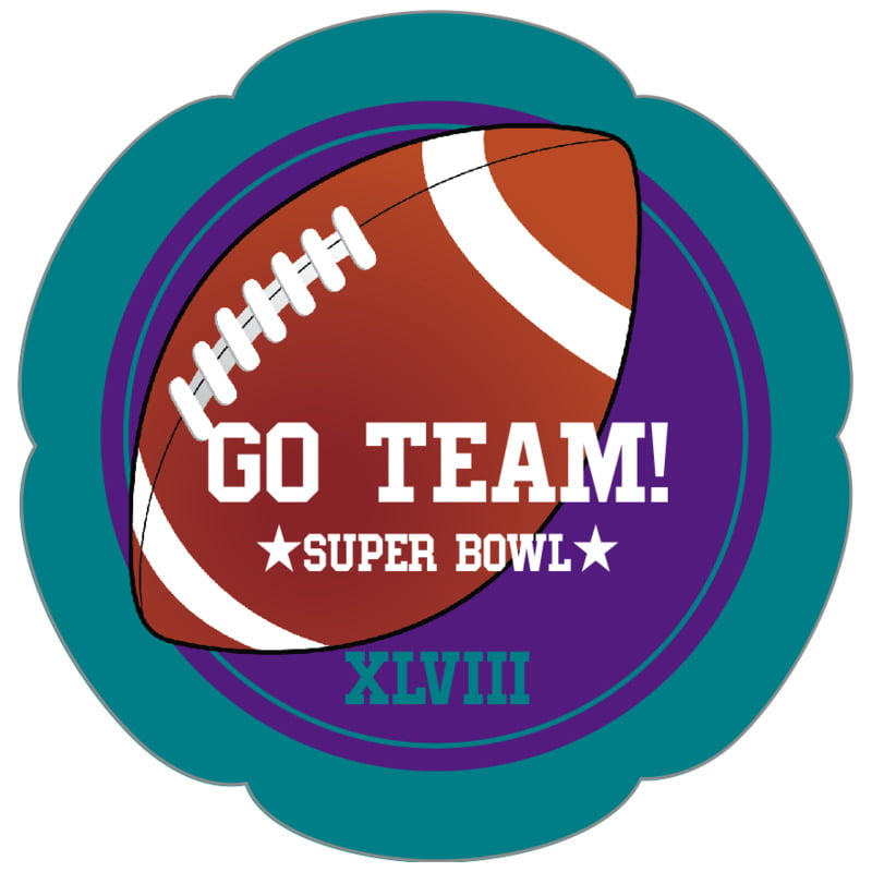 petal food/craft labels - purple & teal - football (set of 30)