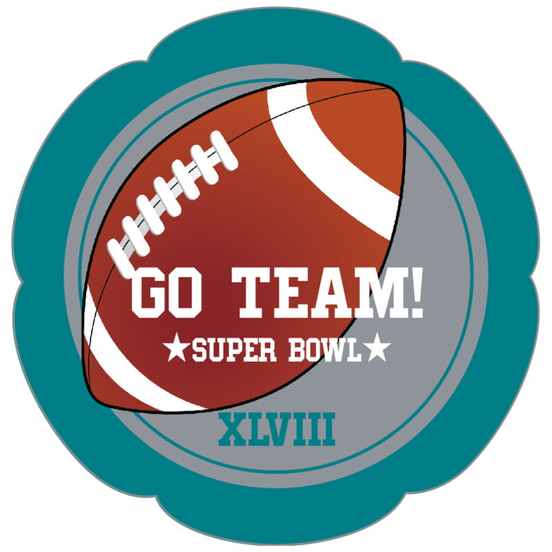 petal food/craft labels - silver & teal - football (set of 30)