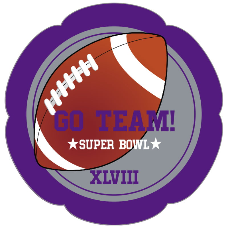 petal food/craft labels - silver & purple - football (set of 30)