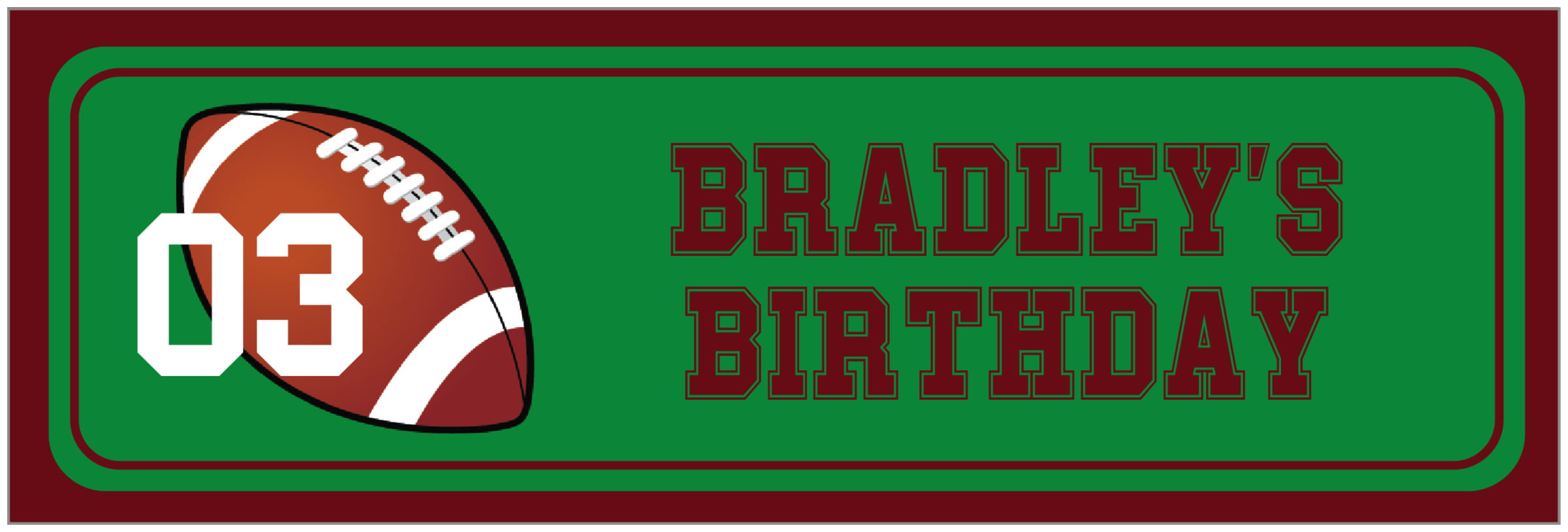 wide food/craft labels - green & maroon - football (set of 14)