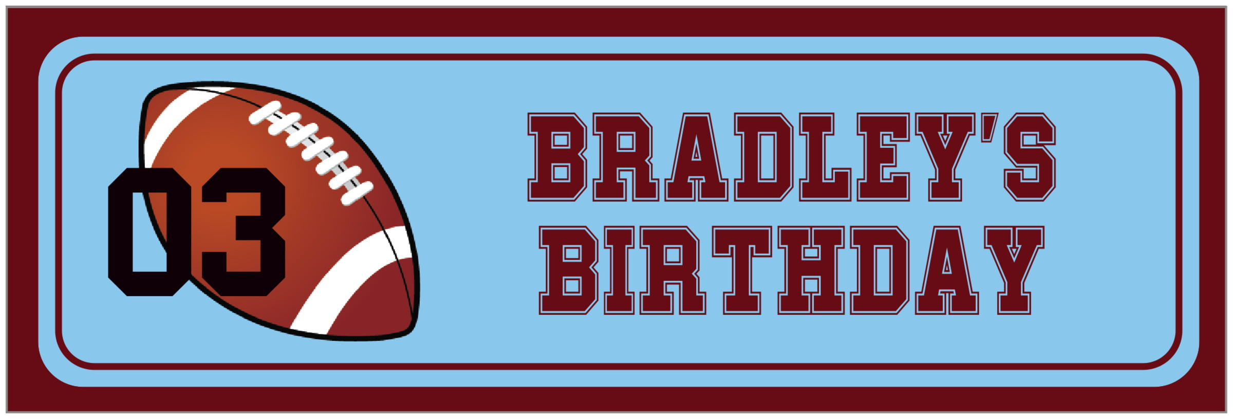 wide food/craft labels - light blue & maroon - football (set of 14)