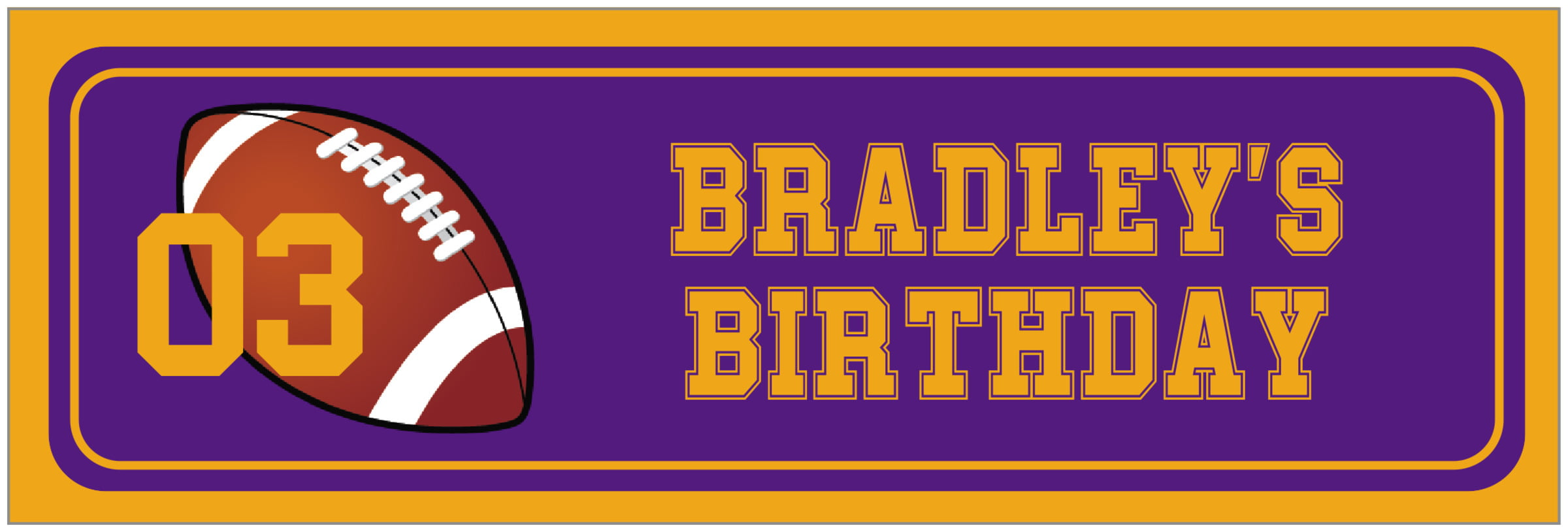 wide food/craft labels - purple & gold - football (set of 14)
