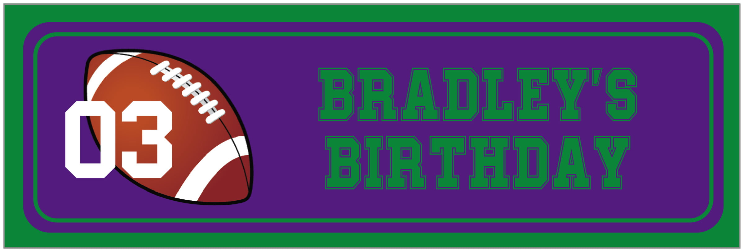 wide food/craft labels - purple & green - football (set of 14)