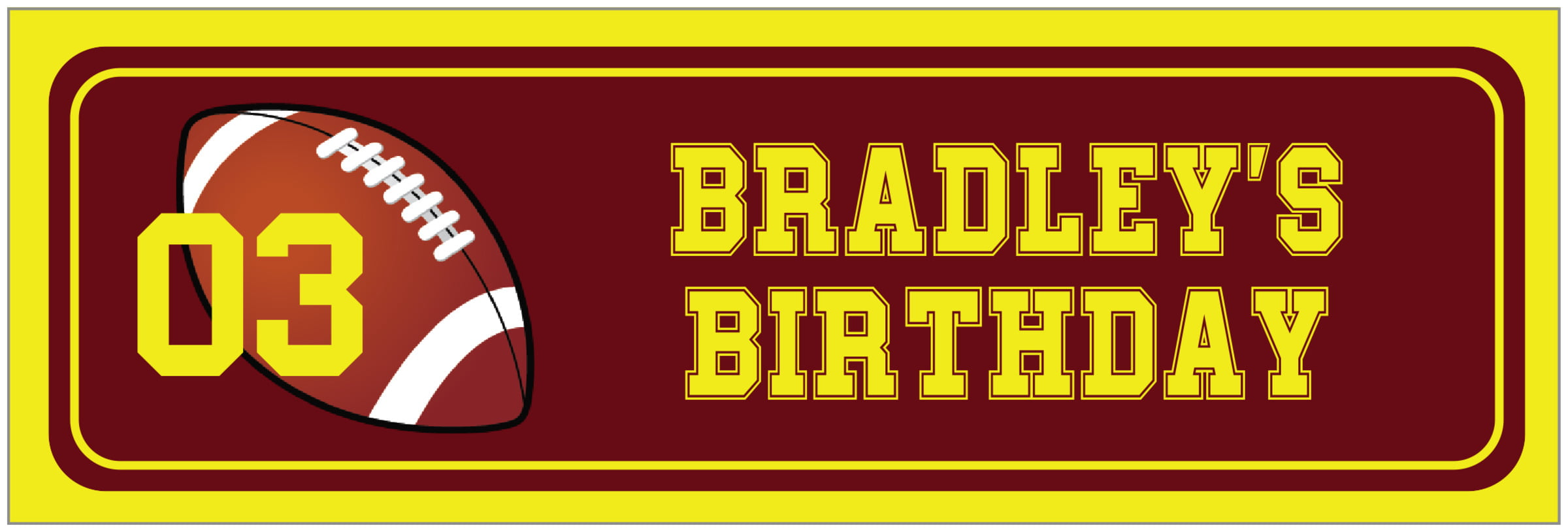 wide food/craft labels - maroon & yellow - football (set of 14)