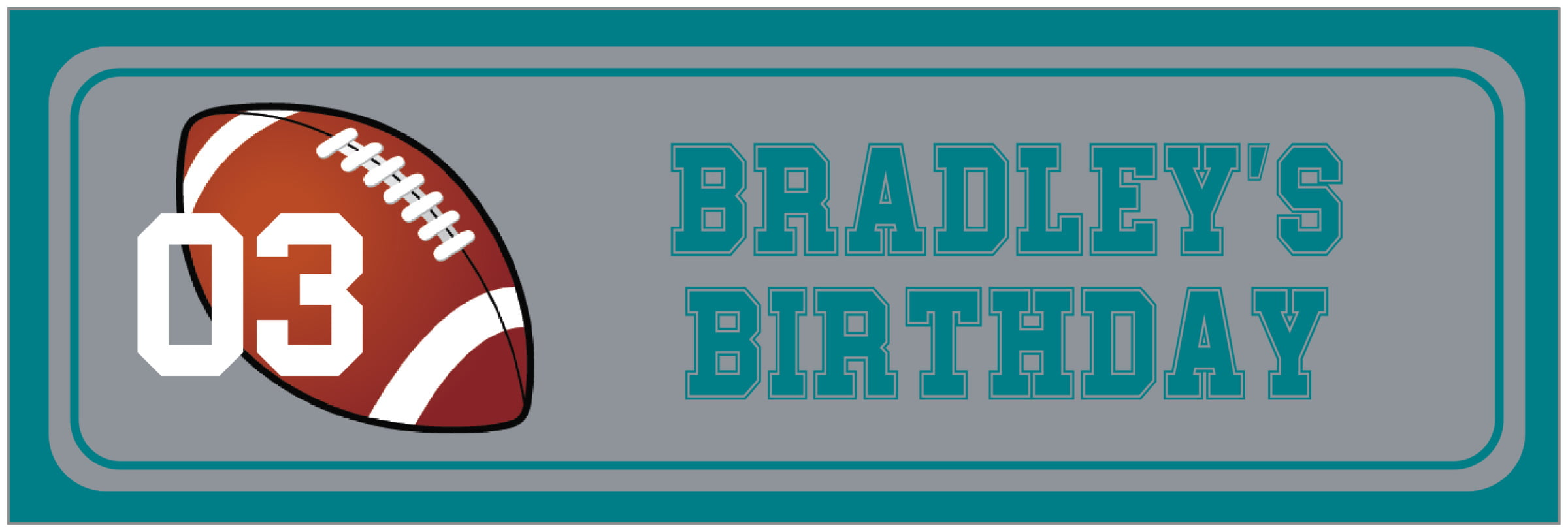 wide food/craft labels - silver & teal - football (set of 14)
