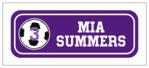 Soccer Small Rectangle Label In Purple & White