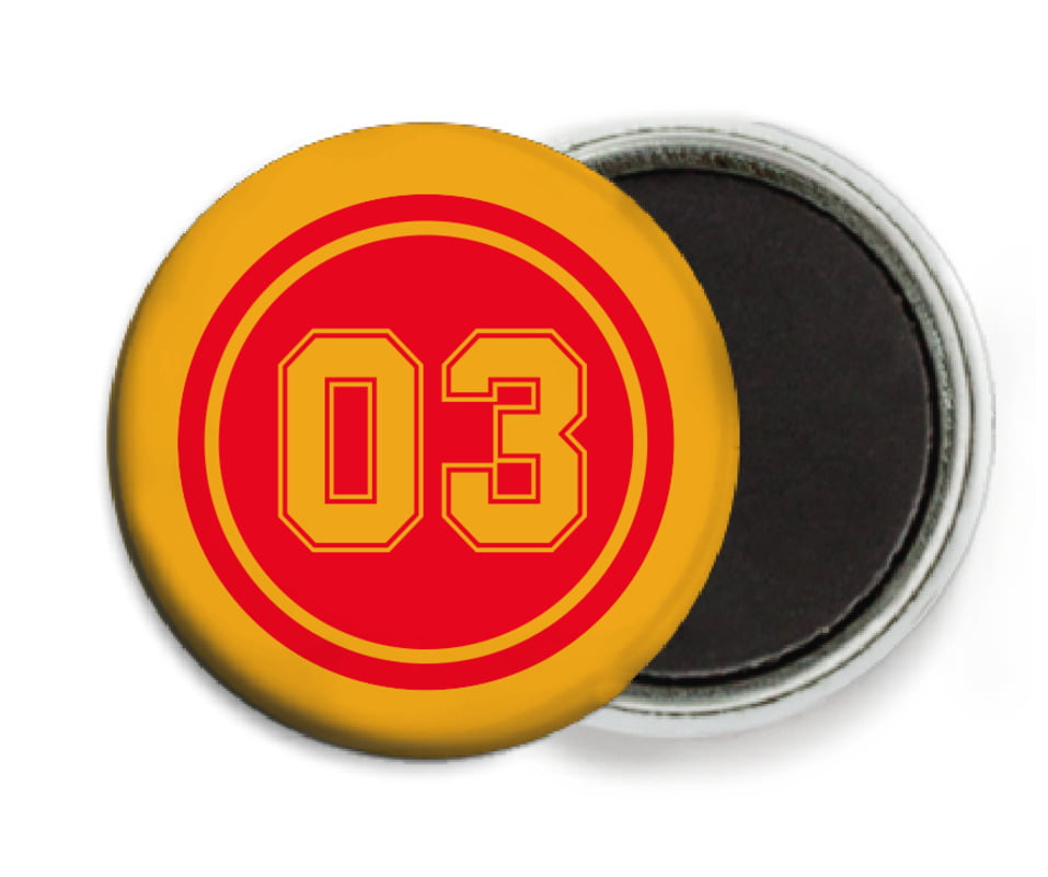 custom button magnets - red & gold - soccer (set of 6)