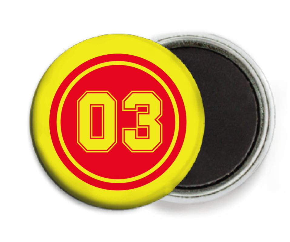 custom button magnets - red & yellow - soccer (set of 6)