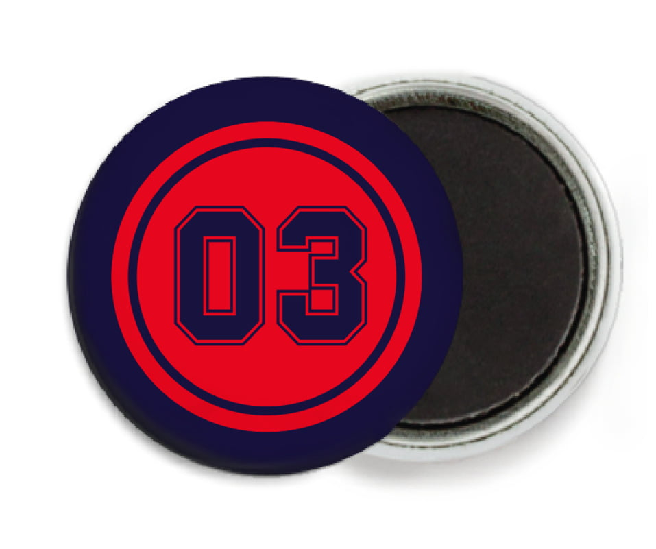 custom button magnets - red & navy - soccer (set of 6)