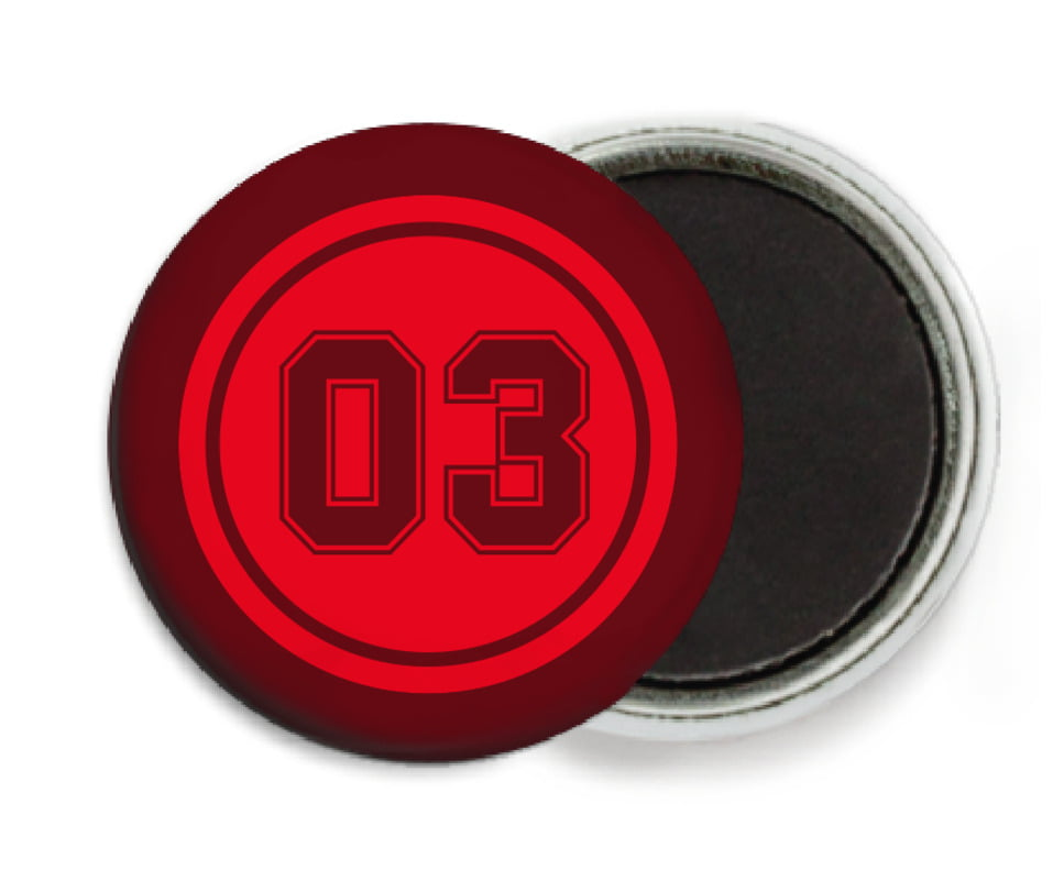 custom button magnets - red & maroon - soccer (set of 6)