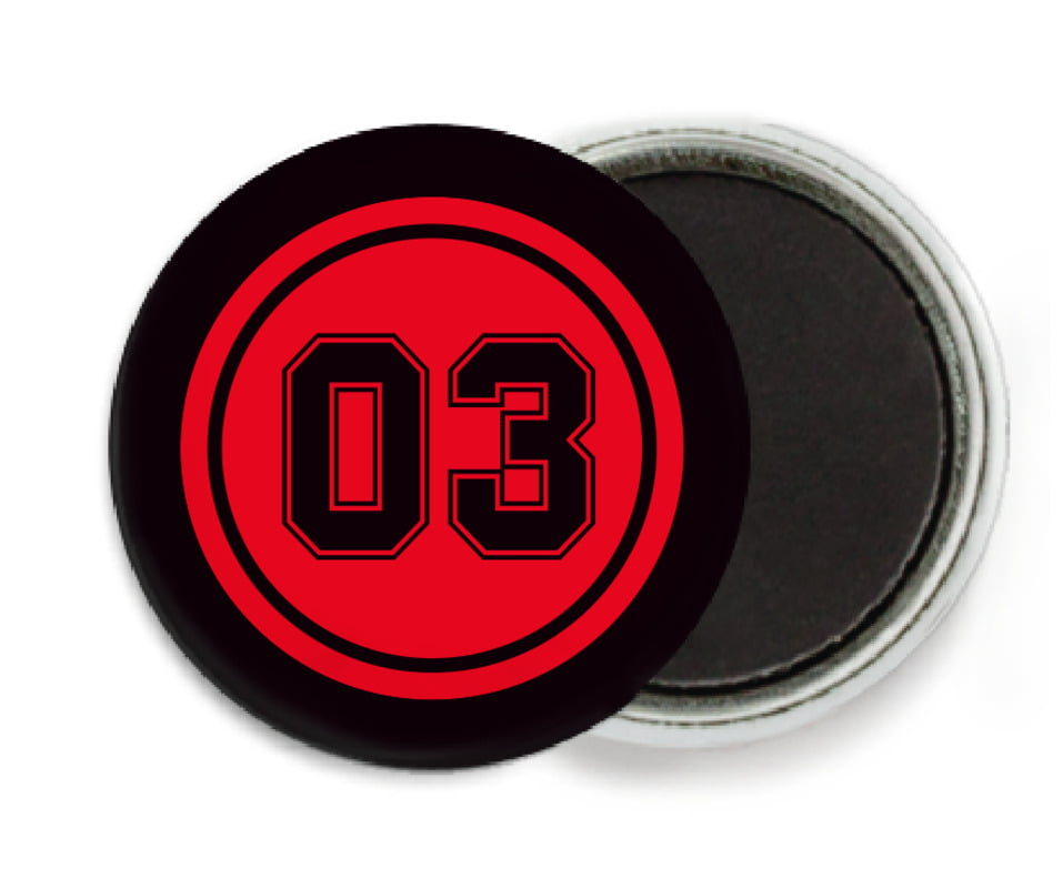 custom button magnets - red & black - soccer (set of 6)