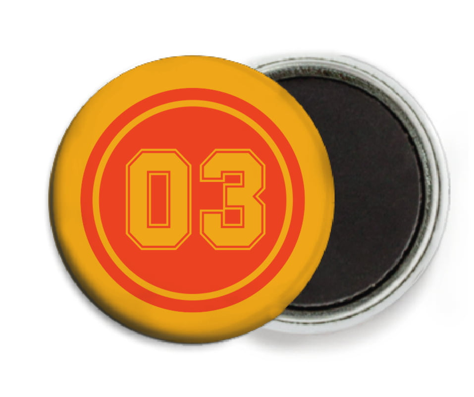 custom button magnets - orange & gold - soccer (set of 6)